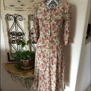 Vintage prairie floral print dress
